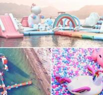 A gigantic inflatable unicorn island for adults!