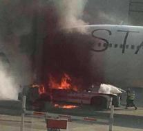 Airbus on fire at Frankfurt airport