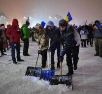 Also snow stops protest Romania not