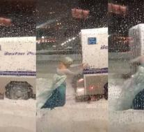 'Elsa' from Frozen pushes police car out of the snow: 'Let it go'