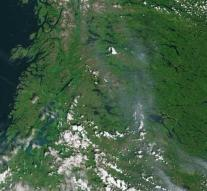 Forest fires Sweden from space to see