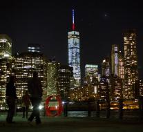 WTC New York in French flag colors
