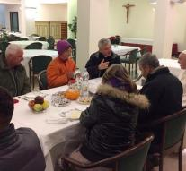 Year-old pope breakfast with the homeless